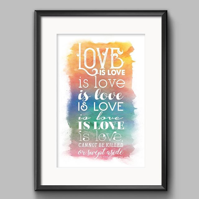 HAPPY PRIDE MONTH!!! ❤️💛💚💙💜 30% of proceeds from this poster will be donated to @glaad. Love always wins. Link in bio! #pridemonth #gaypride #lgbtq #loveisloveislove #lgbtqally