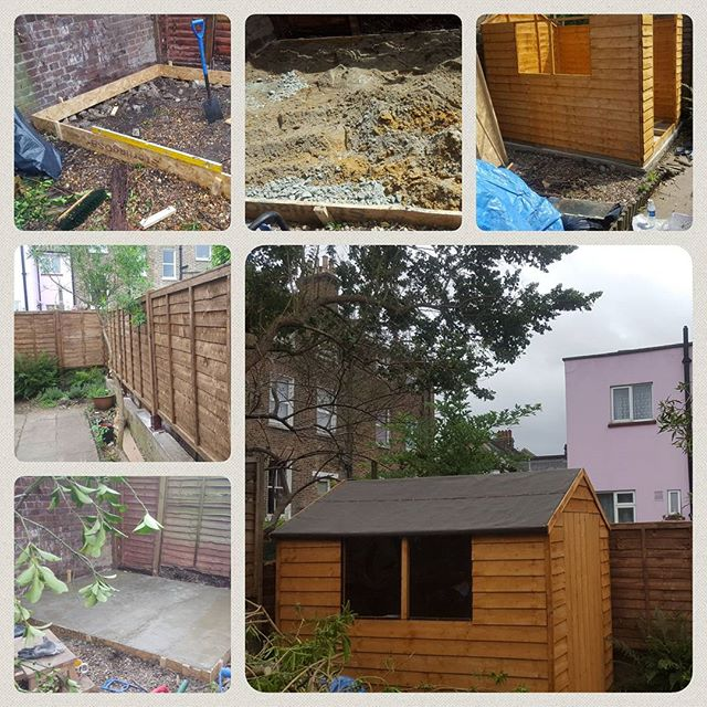 We love working outdoors.  A new concrete foundation was laid, fence panels fitted and a shed constructed for this happy customer  #london #kcmc #london #checkatrade #cityandguilds #plumbing #plumbers #carpenter #carpentry #locksmiths #accreditation #kitchens #bathrooms #sinks #taps #cement #sheds #fence #concrete #garden #landscaping #summer #lewisham