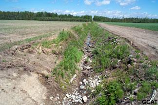 Érosion dans des fossés agricoles