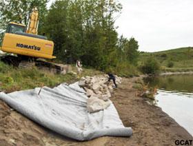 Enrochement des berges d'un agriculteur du Témiscamingue