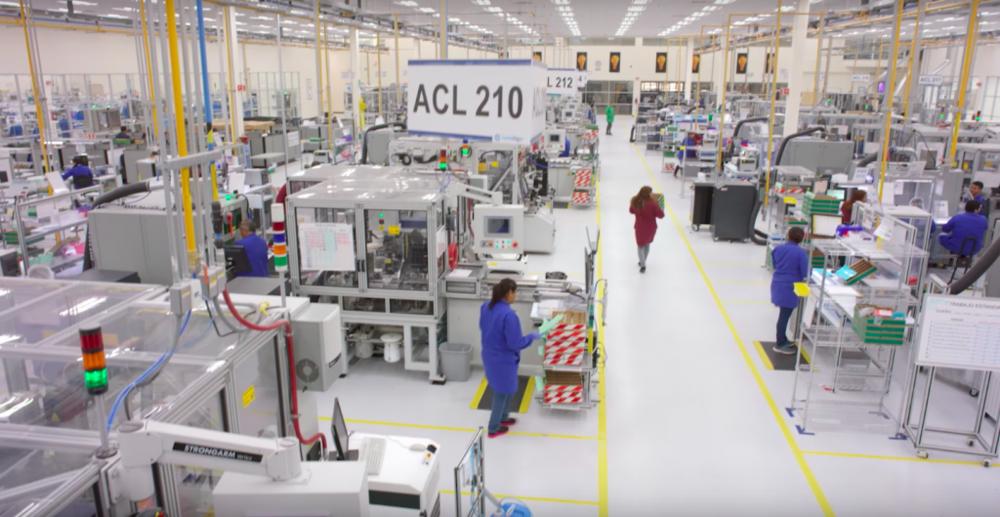 Production at the Invisalign factory. Photo via Youtube/Align Technologies, Inc.