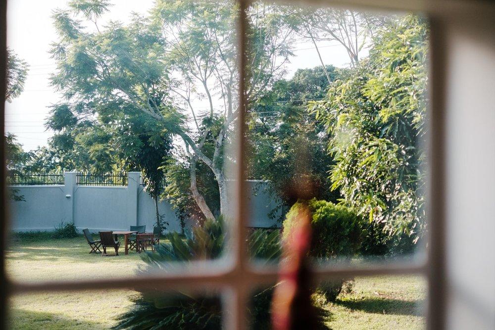 View out into the spacious tropical garden