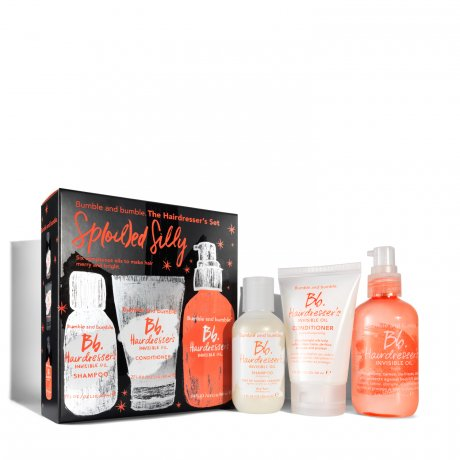 "Bumble and bumble Hairdresser's Invisible Oil ""Sp(oil)ed Silly"" Set   ""A blend of six featherlight oils helps soften, silken, tame, de-frizz, detangle, and protect against breakage– without weighing hair down.""    Valued at 66 dollars, this set is just 39 dollars!"