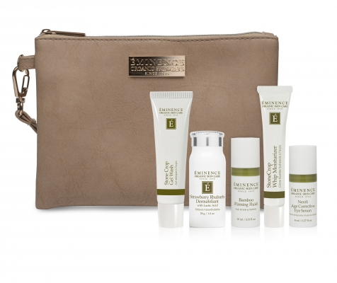 "Eminence Must Have Minis Starter Set   ""Your skin deserves the best care nature has to offer, so we've put together a collection of our best selling products just for you. This starter set includes a travel size cleanser, exfoliant, moisturizer, facial concentrate and eye serum along with a convenient zippered pouch that's perfect for traveling. It's a complete skin care routine that's suitable for all skin types and makes collecting our most popular products a one-stop shop."" 7 9 dollars"