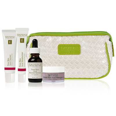 "Eminence Firm Skin Starter Set   ""Our Firm Skin Starter Set is beautifully packaged with a one-month's supply of targeted organic products to treat aging skin types.""  58 dollars"