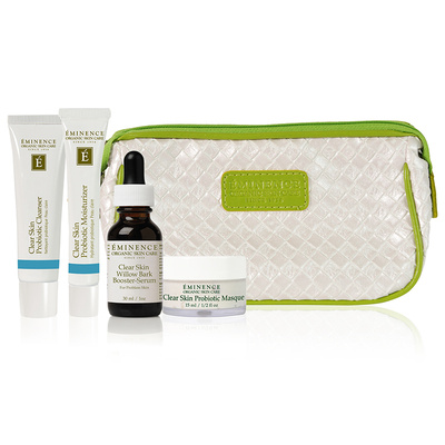"Eminence Clear Skin Starter Set   ""Eminence Organics Clear Skin Starter Set fights acne by purifying the pores and controlling oil production. Each formula features soothing and beneficial ingredients to restore your complexion, including lactic acid, willow bark and tea tree oil.""    58 dollars"