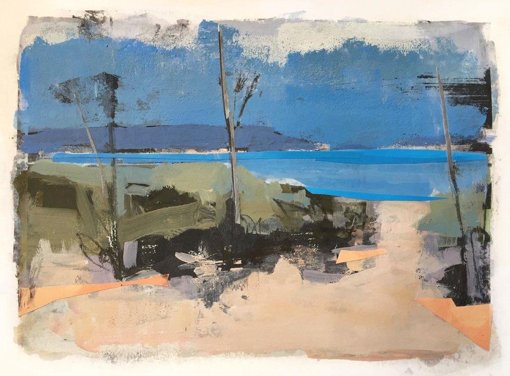 Margo Burian, Sand Sky Sticks, 11x8, Mixed Media