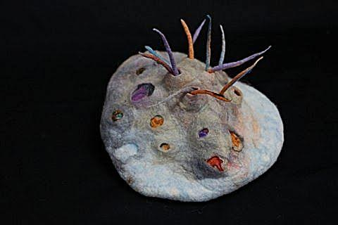 Elizabeth Rodgers Hill, In The Sea, Hand Felted Wool 14 x 10