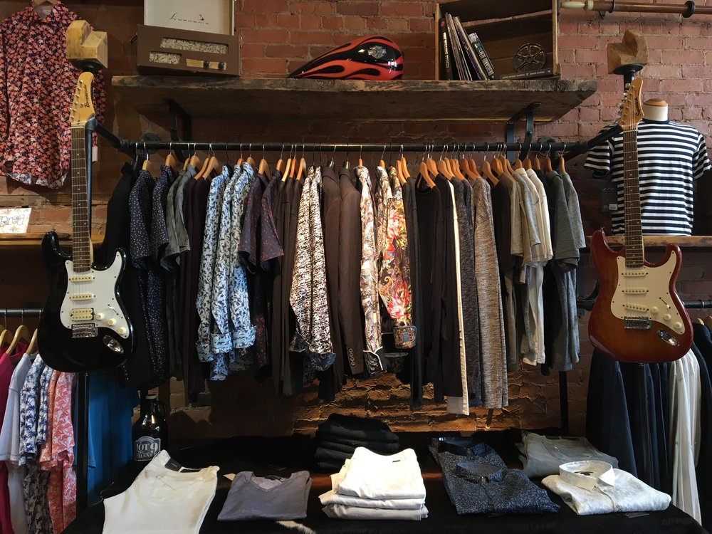 Our John Varvatos & Robert Graham wall. Rock on.