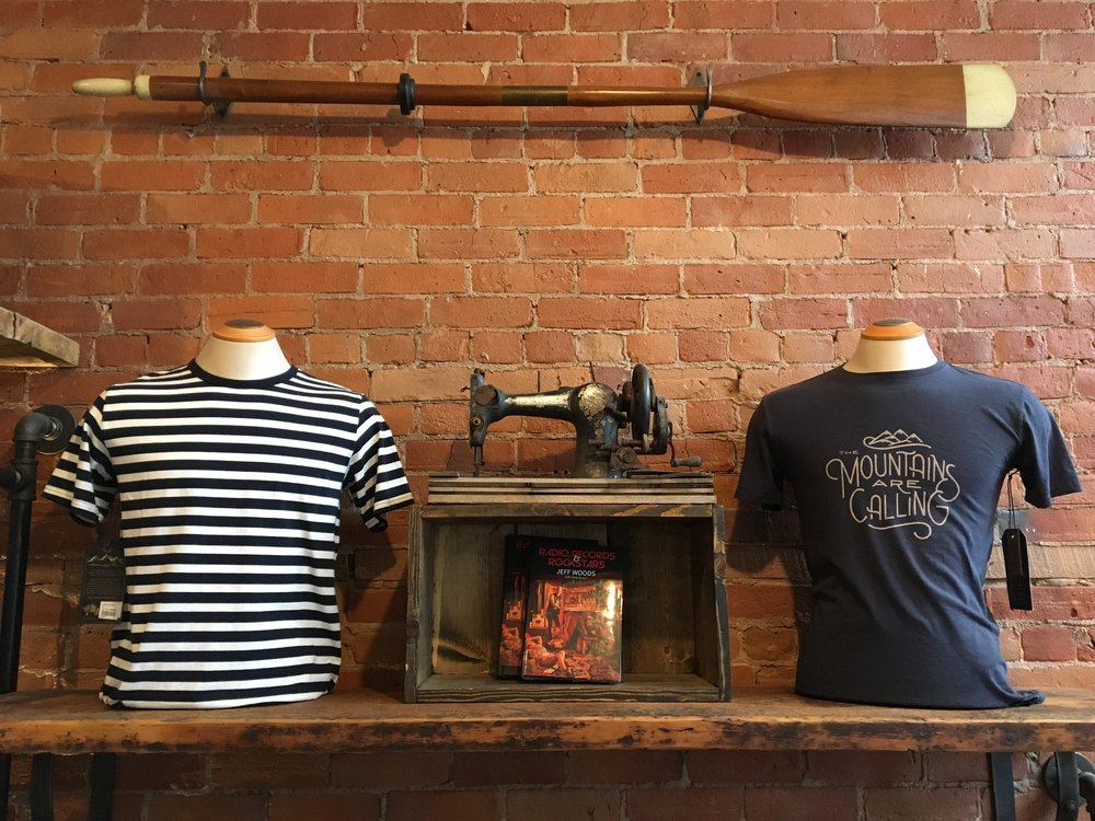 Two closet staples: A striped and graphic tee! These are both made in the USA of organic cotton, by United By Blue. $44-$48.