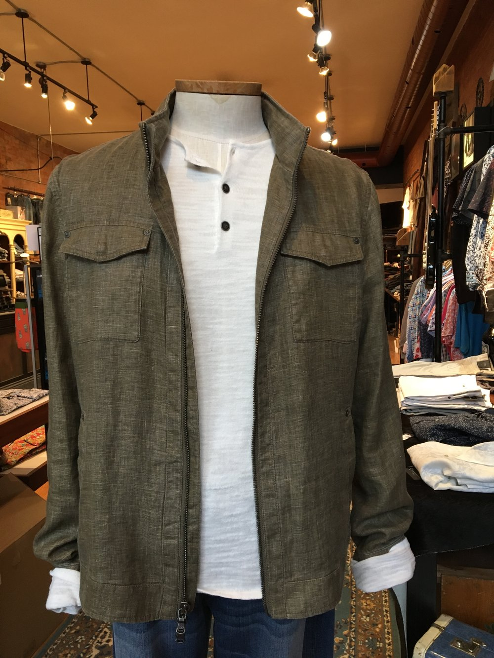 Let's be real, it hasn't been the warmest summer! That's why we LOVE this linen jacket blend from John Varvatos, pictured with a super soft henley in the perfect summer weight.