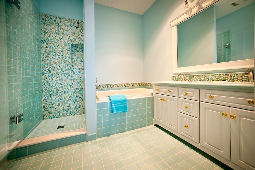 Intricate Floral Tile Bathroom / Torch Lake / Antrim County