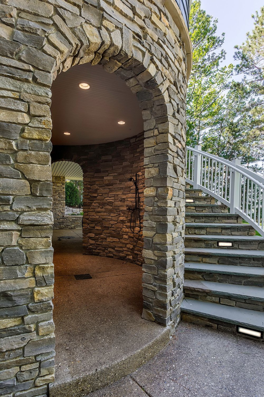 Traverse City / Grand Traverse County / Custom Stone Outdoor Shower