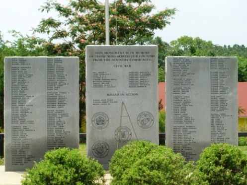 Noonday has a war memorial to commemorate Noonday residents who served their country. Every other Veterans' Day, names are added to the Memorial Monument. Services are planned for Memorial Day and Veteran's Day. The three large stone granites are backed by an American Flag.