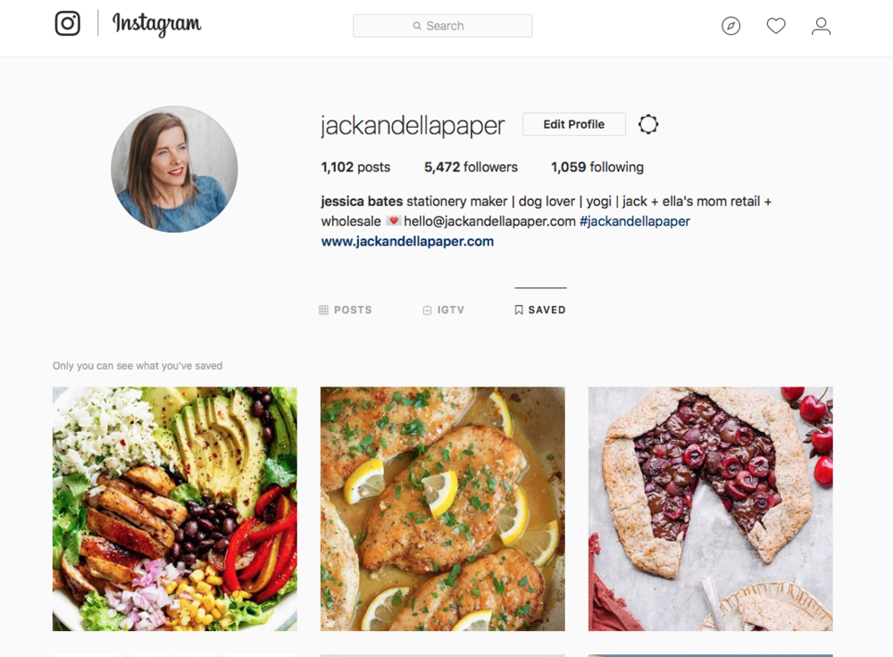 Instagram has a feature where you can save + categorize posts...perfect for storing recipe ideas.