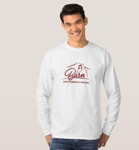 Men's Longsleeve BARN T-Shirt $29.10 - Stay warm and help others stay warm in the process with your contribution to BARN by purchasing this comfy shirt.