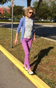 Joan Pagano balancing on curb