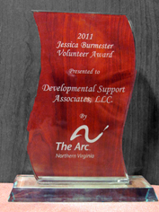 DSA is the proud winner of ARC of NoVa's 2011 Jessica Burmester Volunteer Award