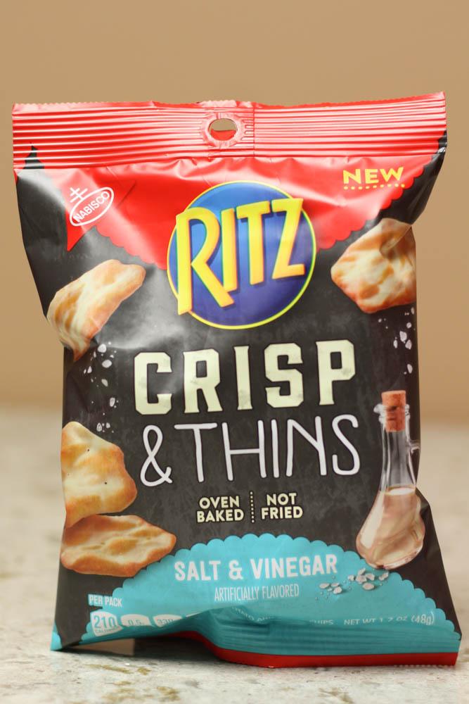 RITZ CRISP & THINS OVEN BAKED SALT & VINEGAR 1.7 oz  Stoltzfus Family Market-$0.26 per ounce or $0.45 per bag Walmart-$0.49 per ounce
