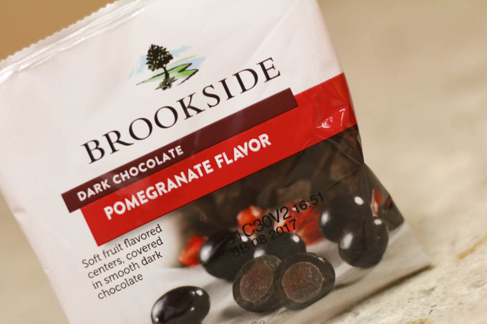 Brookside Dark Chocolate Pomegranate Flavor (soft fruit flavored centers, covered in smooth dark chocolate)  Stoltzfus Family Market-approx 9.33 cents per ounce Walmart-64.20 cents per ounce