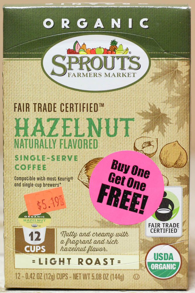 Sprouts Farmers Market Hazelnut Naturally Flavored Single-Serve Coffee  Stoltzfus Family Market-BUY ONE FOR $5.19 & GET ONE FREE