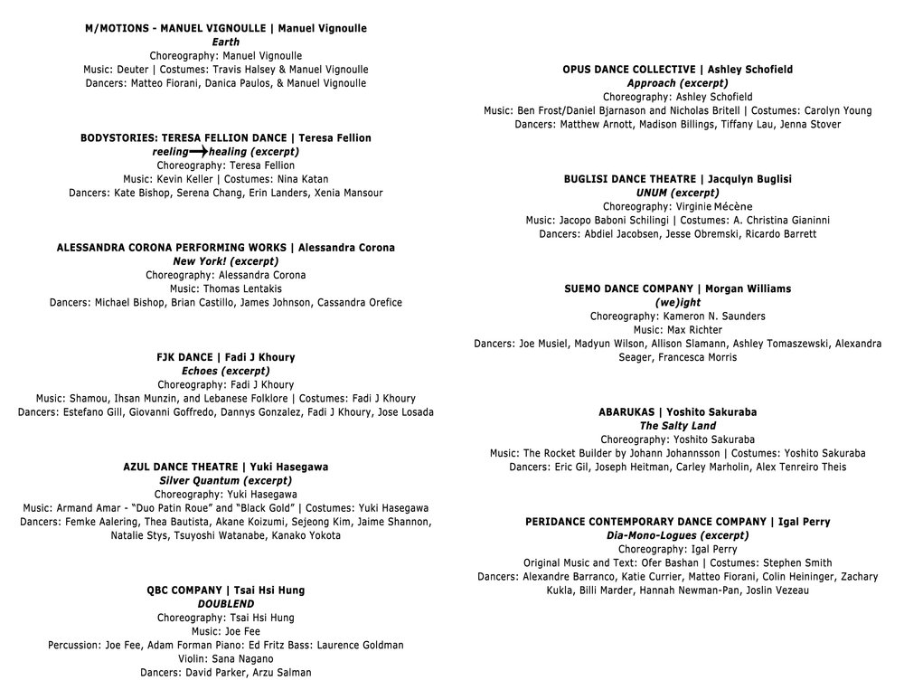 Program of the APAP Performance at Peridance