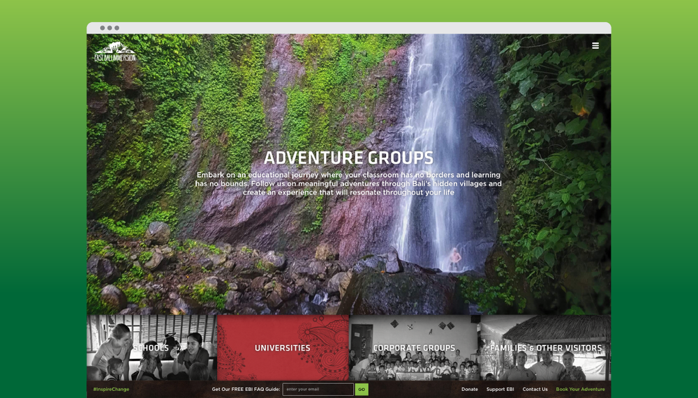 """Adventure Groups"" landing page"