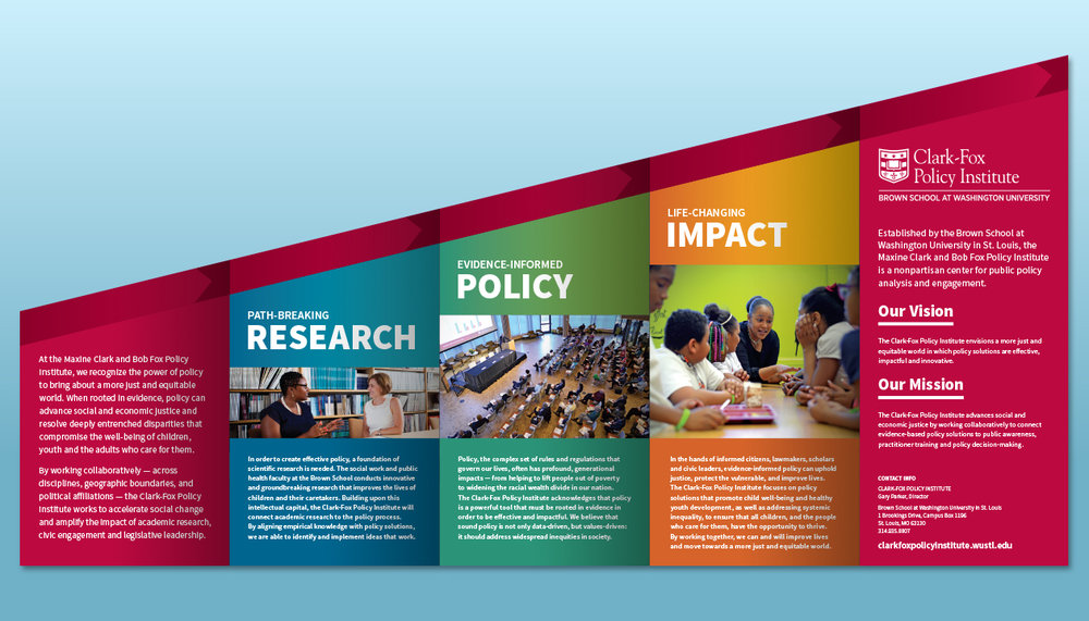 "Clark-Fox Policy Institute ""Amplifying Impact"" – Inside of brochure"