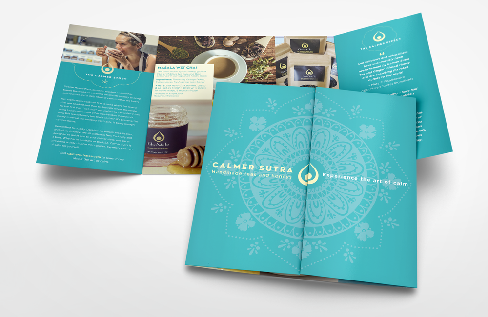 Promotional brochure featuring the first appearance of Calmer Sutra's new branding