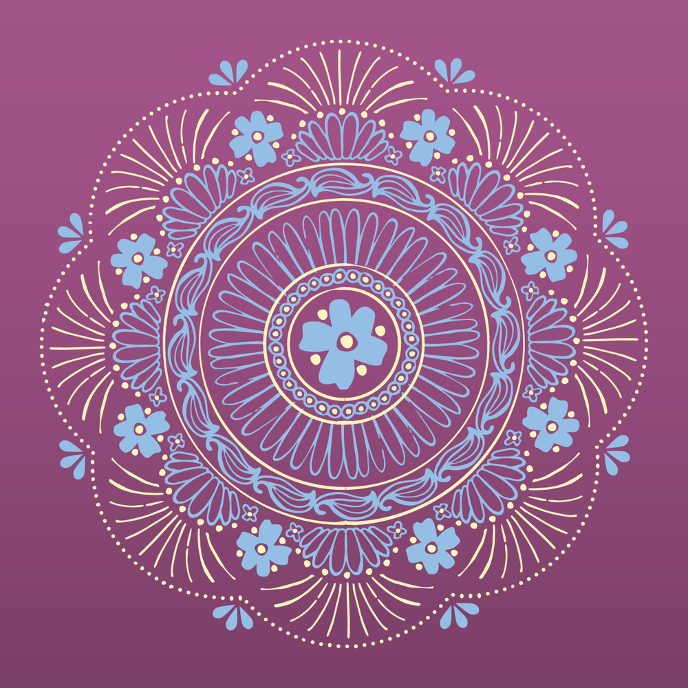 "Hand-illustrated mandala featuring ingredients in Calmer Sutra's ""Floral Fields"" Tea"