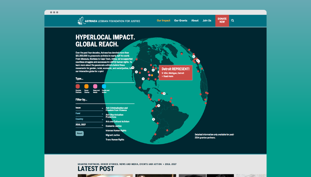 """Our Impact"" interactive map"