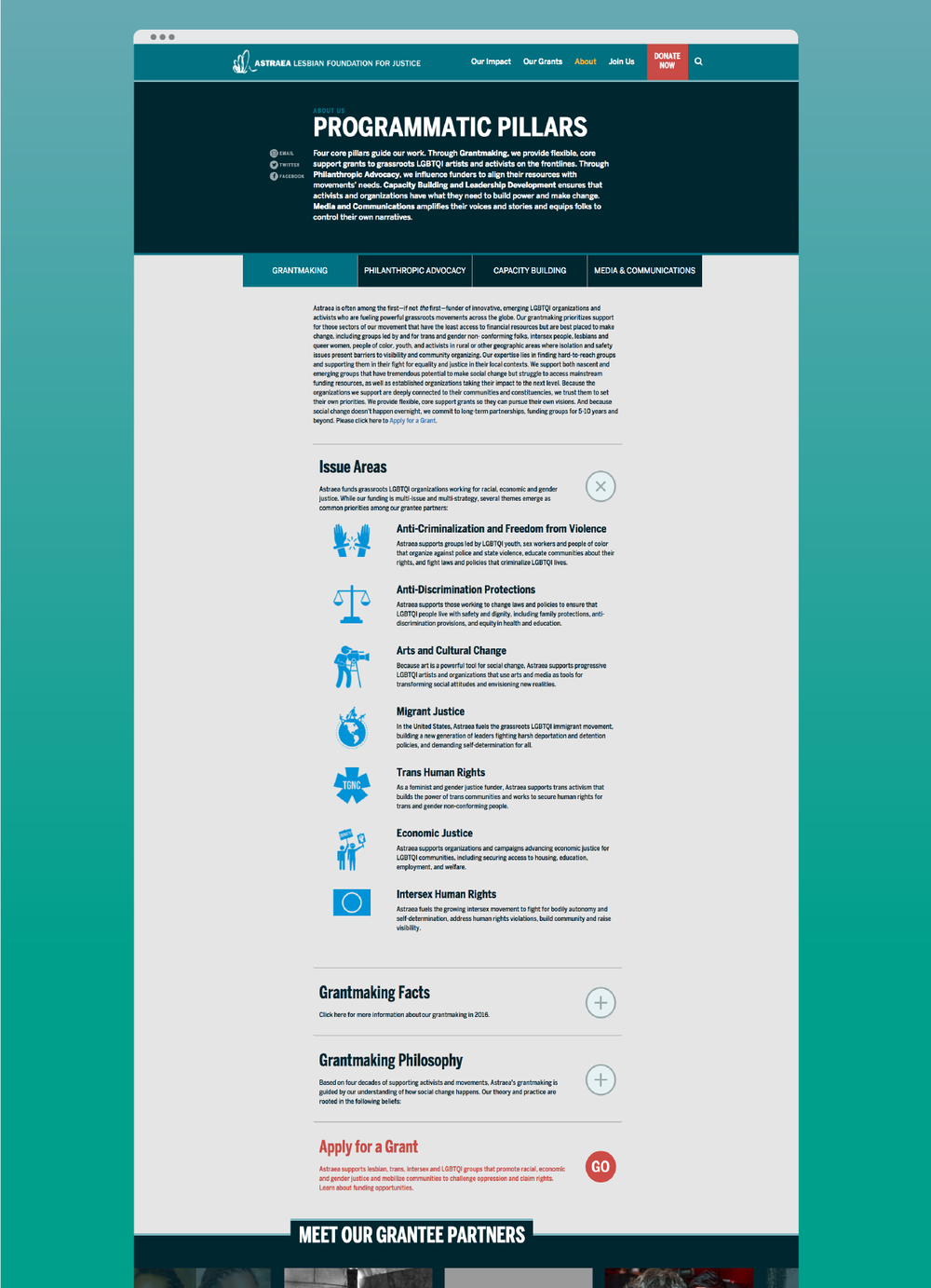 Programmatic pillar full-page view with drop-downs