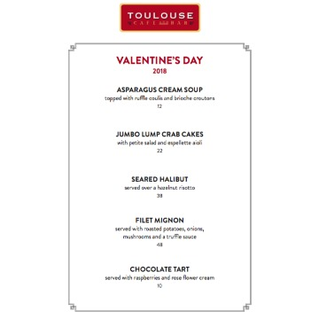 Toulouse Valentine S Day Menu River Oaks District