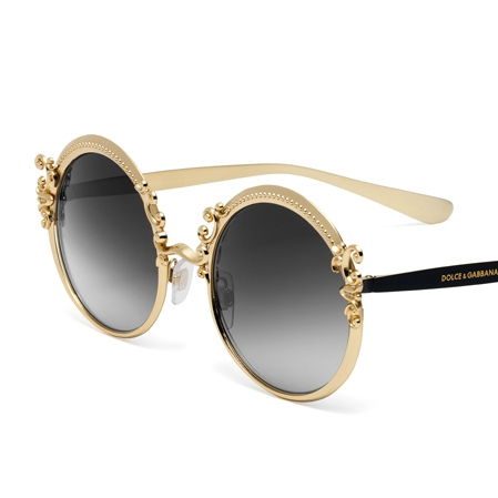 Dolce and Gabanna  DG2177  You can find these sunglasses under the dictionary defition of STATEMENT! These round metal frames and temples are decorated with elegant Baroque volutes. These lenses come in beautiful color waves like blue, grey, rose gold, silver, and beige! Take these on your next vacation and you will be sure to impress.