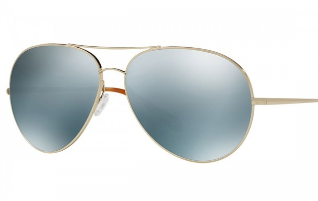 Oliver Peoples Sayer Sunglasses  An exaggerated take on a classic shape, the Sayer is an oversized double-bridge metal sunglass with flash mirror lenses. Mirror lenses in various materials make a statement for fashion-forward, progressive styles. Perfect for the girl who loves to stand out in a crowd.