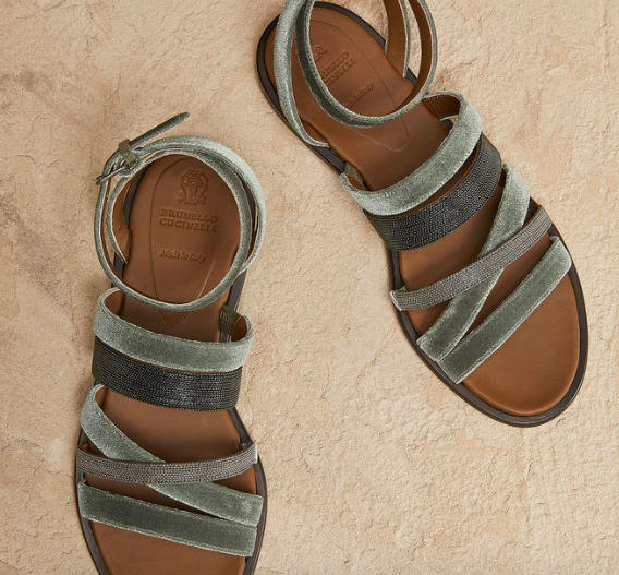 "Quality and style rolled into one.  These Brunello Cucinelli Leather ""Velvet & Shiny Straps"" sandals go with any ensemble, until the end of time. A true investment piece for your foot wardrobe."