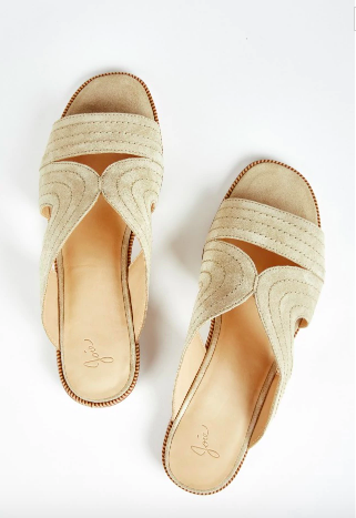 We love that Joie has given the classic slide an update in soft calf suede and added some pretty stitch detailing just because. An ideal slip-on-and-go sandal leisurely weekends and busy evenings alike.