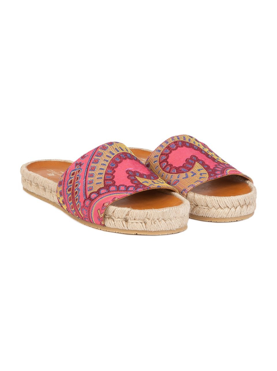 These multicolored Paisley jacquard flat sandals feature a rope-edged bottom and are perfect for adding a hint of style to a casual look.
