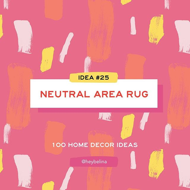 25/100 - Hone Decor Idea #25:  NEUTRAL AREA RUG ✨ . . . #heybelina #100dayproject  #100homedecorideas