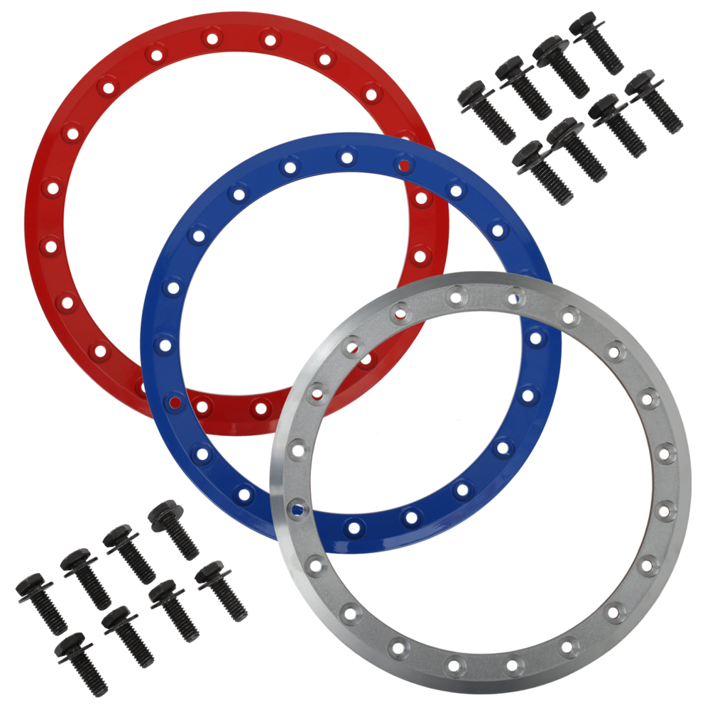 Optional color rings in Red, Blue and Raw finish for customizing. Plus optional black bolts. (SB-3 beadlock rings shown, same colors available.)