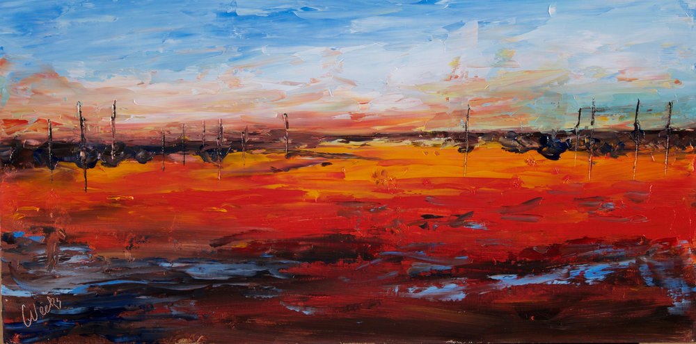 """Red Sky at Night Sailors Delight"" - 8 x 16 inch"