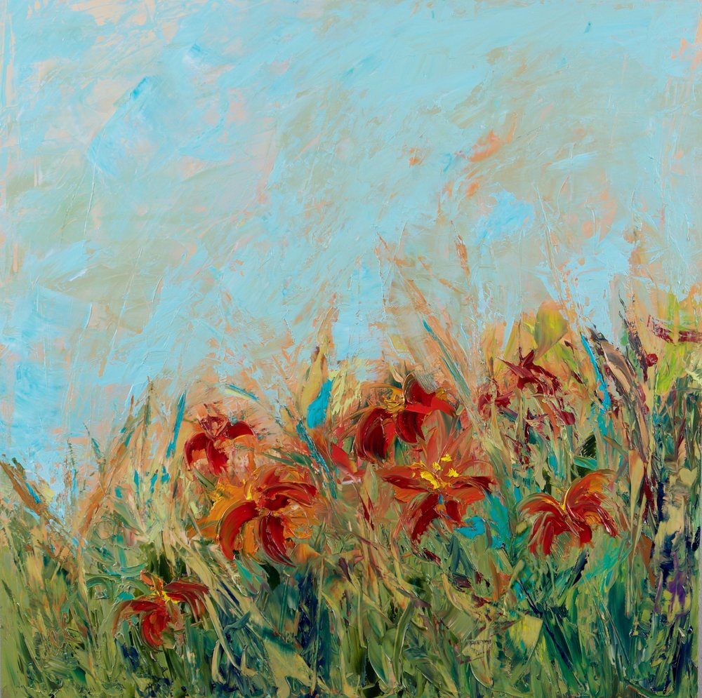 """""""Lillies of the Field"""" - 24 x 24 inch"""