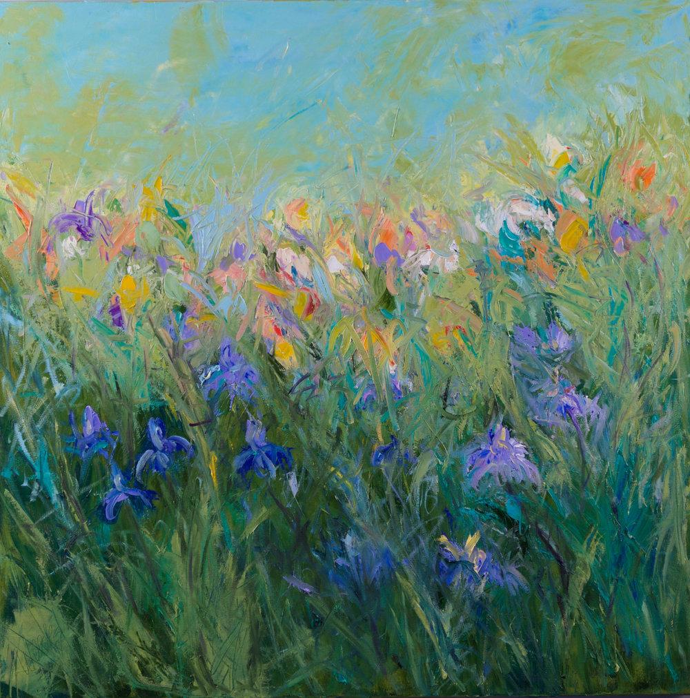 """""""Dancing in My Garden"""" - 36 x 36 inch"""