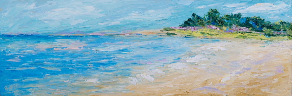 """A Visit to Tahiti Beach"" - 12 x 36 inch"