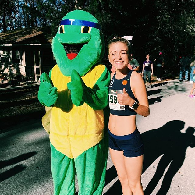 "BREAKTHROUGH SEASON YALL!  First sub 20 5k in about 4 years! 19:22 official time & I beat the tortoise (proof by my smile and closed eyes)  Health issues & mental barriers are tough, but to me this is proof that ""each day's effort is but one blow of my blade against a mighty oak. The first blow may cause not a tremor in the wood, nor the second, nor the third. Each blow, of itself, may be trifling, and seem of no consequence. Yet from childish swipes the oak will eventually tumble."" The wall that has been in front of me for years is slowly but surely breaking down.  It's been a journey and continues to be a rewarding one. Here's to a season filled with life-lessons & victories!  Next goal: Break my 6 year old PR of 18:42 in the 5k!"