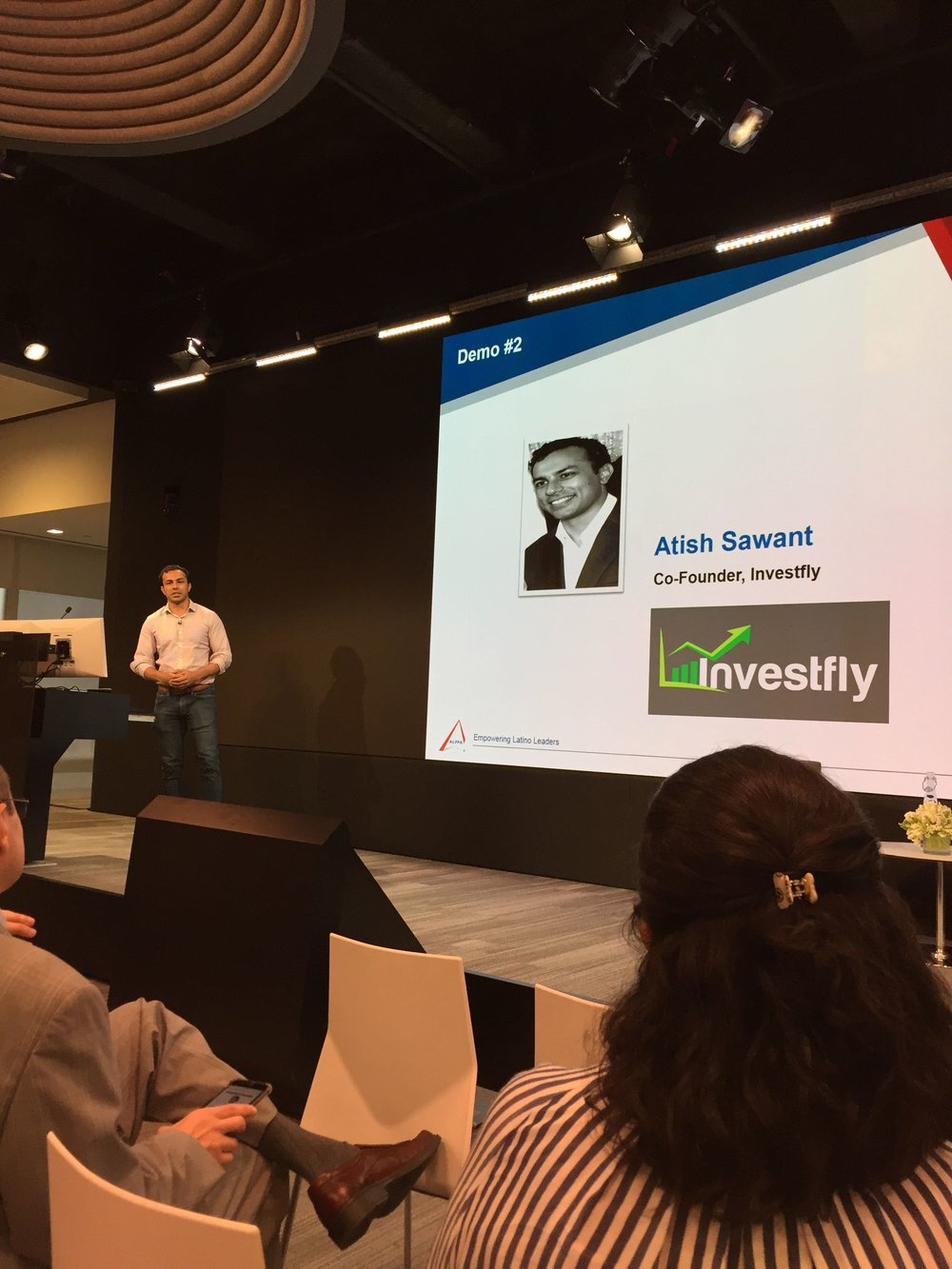Atish Sawant presenting Investfly to the ALPFA & Bloomberg crowd
