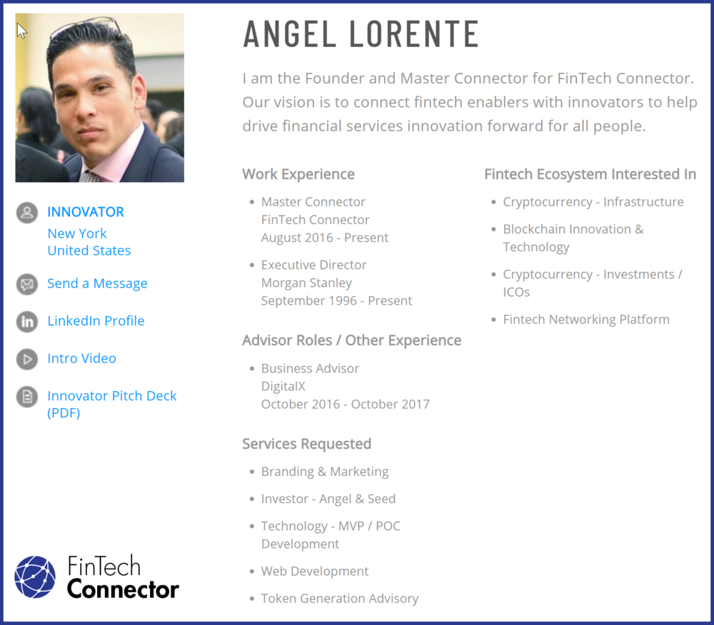 Connect with Angel Lorente via FinTech Connector -  https://members.fintechconnector.com/user/sign_up