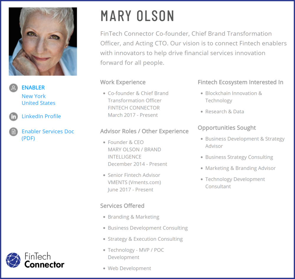 Connect with Mary Olson via FinTech Connector -  https://members.fintechconnector.com/user/sign_up
