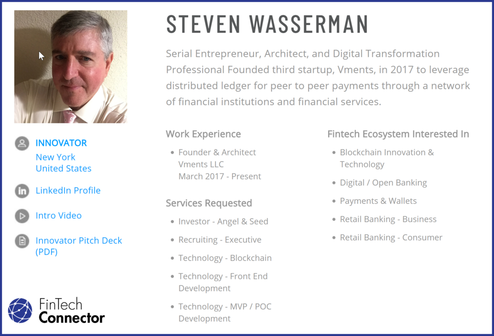 Profile from the Fintech Connector Member Platform. Get acquainted with Steve Wasserman.  https://members.fintechconnector.com/user/sign_up