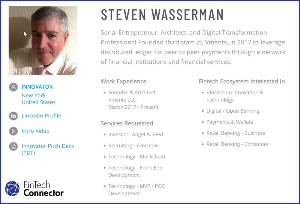 Connect with Steve Wasserman via FinTech Connector -  https://members.fintechconnector.com/user/sign_up